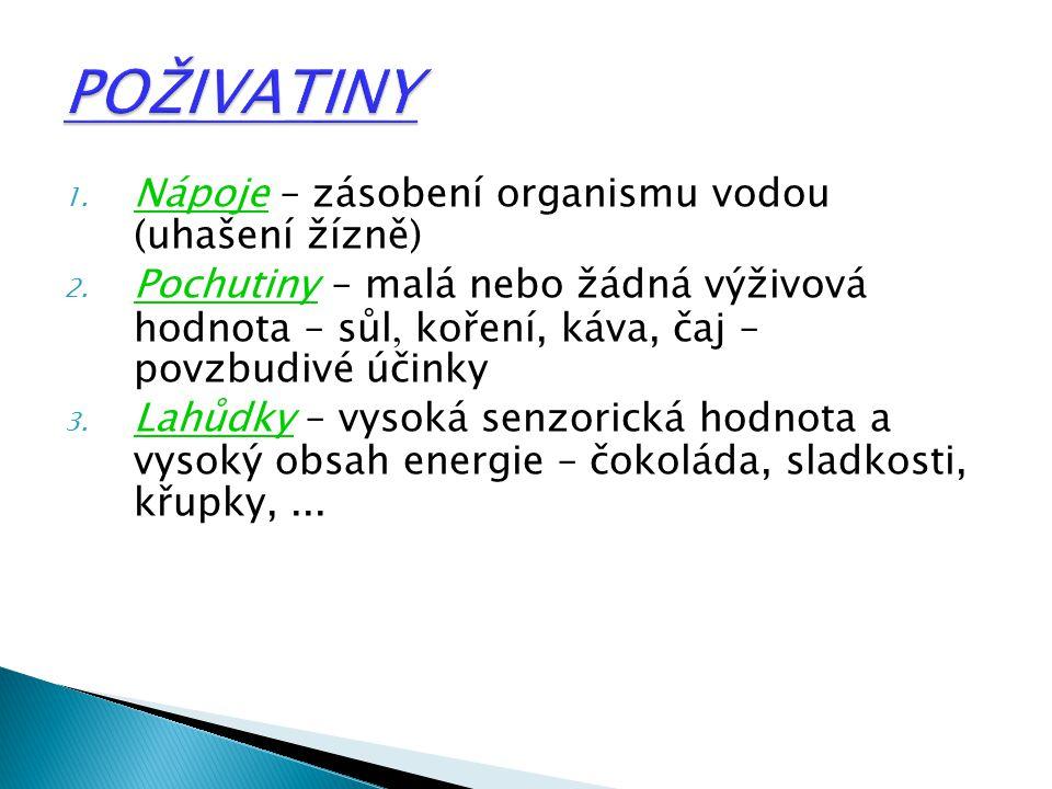 1.Nápoje – zásobení organismu vodou (uhašení žízně) 2.