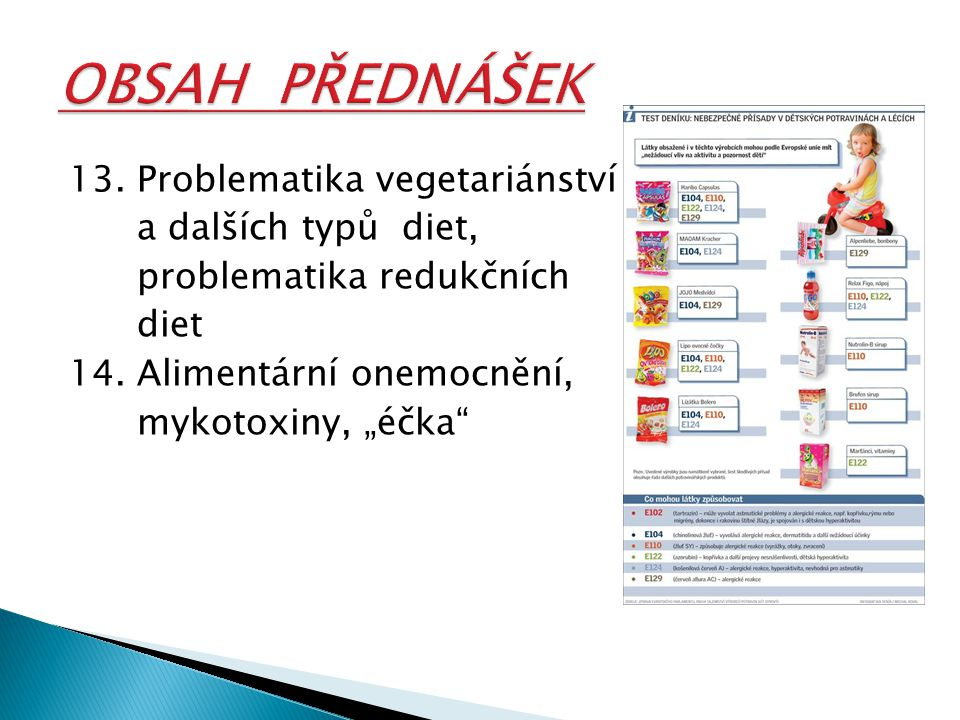 """13. Problematika vegetariánství a dalších typů diet, problematika redukčních diet 14. Alimentární onemocnění, mykotoxiny, """"éčka"""""""