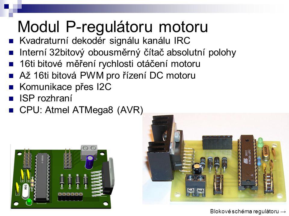 Modul P-regulátoru motoru Kvadraturní dekodér signálu kanálu IRC Interní 32bitový obousměrný čítač absolutní polohy 16ti bitové měření rychlosti otáčení motoru Až 16ti bitová PWM pro řízení DC motoru Komunikace přes I2C ISP rozhraní CPU: Atmel ATMega8 (AVR) Blokové schéma regulátoru →