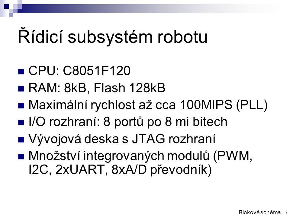 Řídicí subsystém robotu CPU: C8051F120 RAM: 8kB, Flash 128kB Maximální rychlost až cca 100MIPS (PLL) I/O rozhraní: 8 portů po 8 mi bitech Vývojová deska s JTAG rozhraní Množství integrovaných modulů (PWM, I2C, 2xUART, 8xA/D převodník) Blokové schéma →