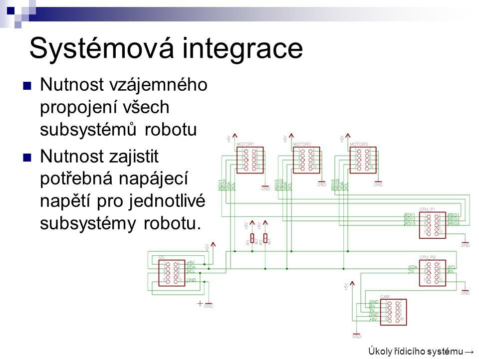 Systémová integrace Nutnost vzájemného propojení všech subsystémů robotu Nutnost zajistit potřebná napájecí napětí pro jednotlivé subsystémy robotu.