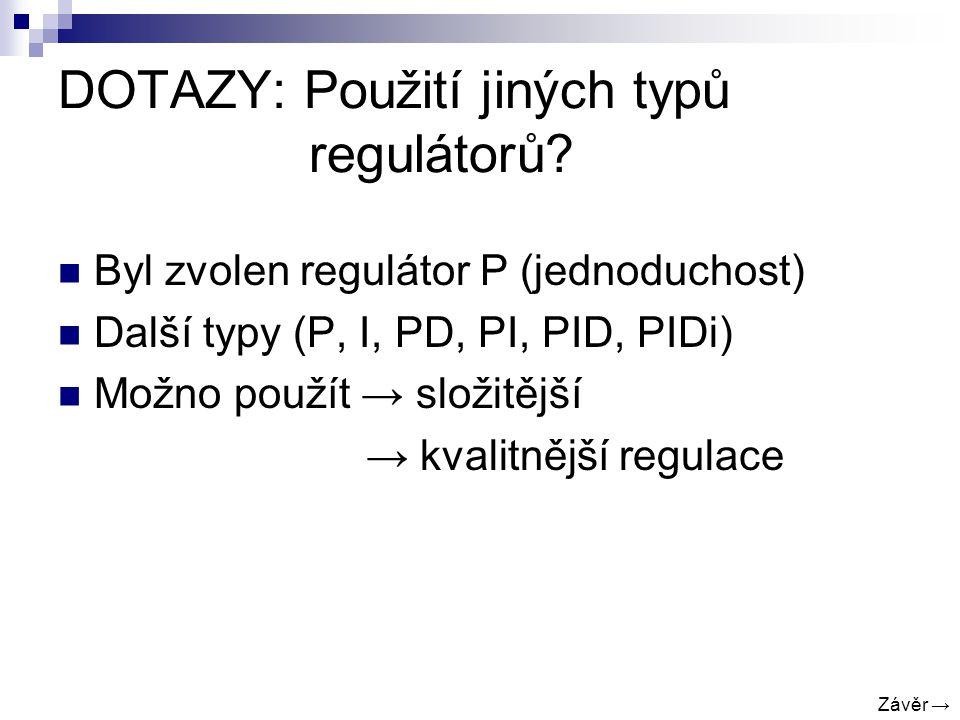 DOTAZY: Použití jiných typů regulátorů.