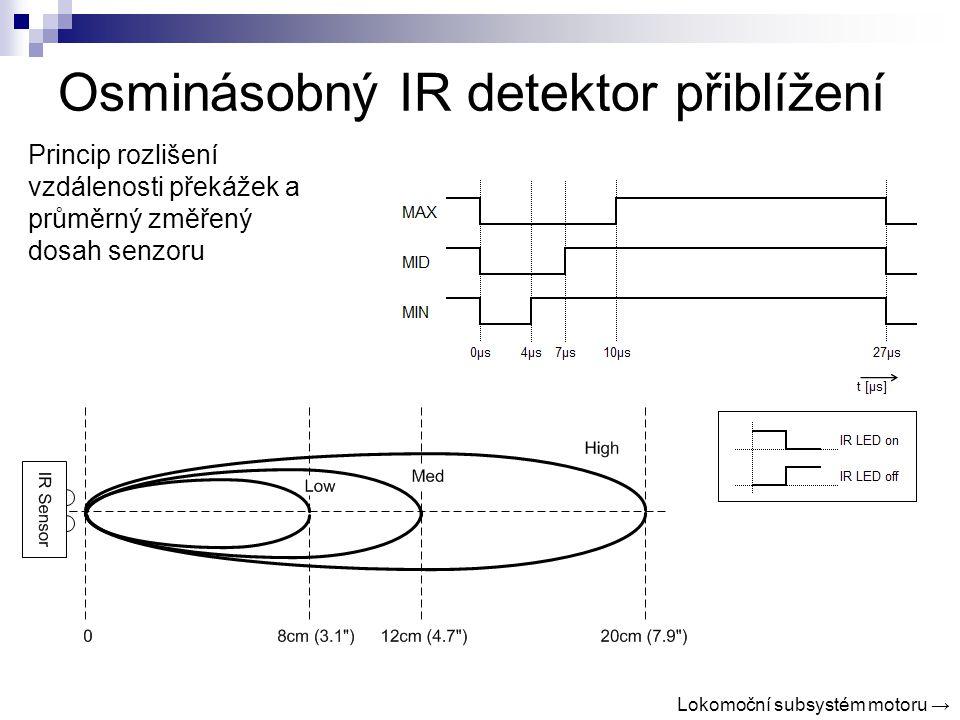 Osminásobný IR detektor přiblížení Princip rozlišení vzdálenosti překážek a průměrný změřený dosah senzoru Lokomoční subsystém motoru →