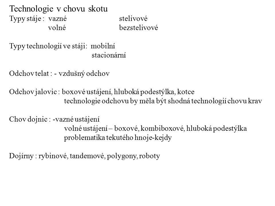 Technologie v chovu skotu Typy stáje : vaznéstelivové volnébezstelivové Typy technologií ve stáji: mobilní stacionární Odchov telat : - vzdušný odchov