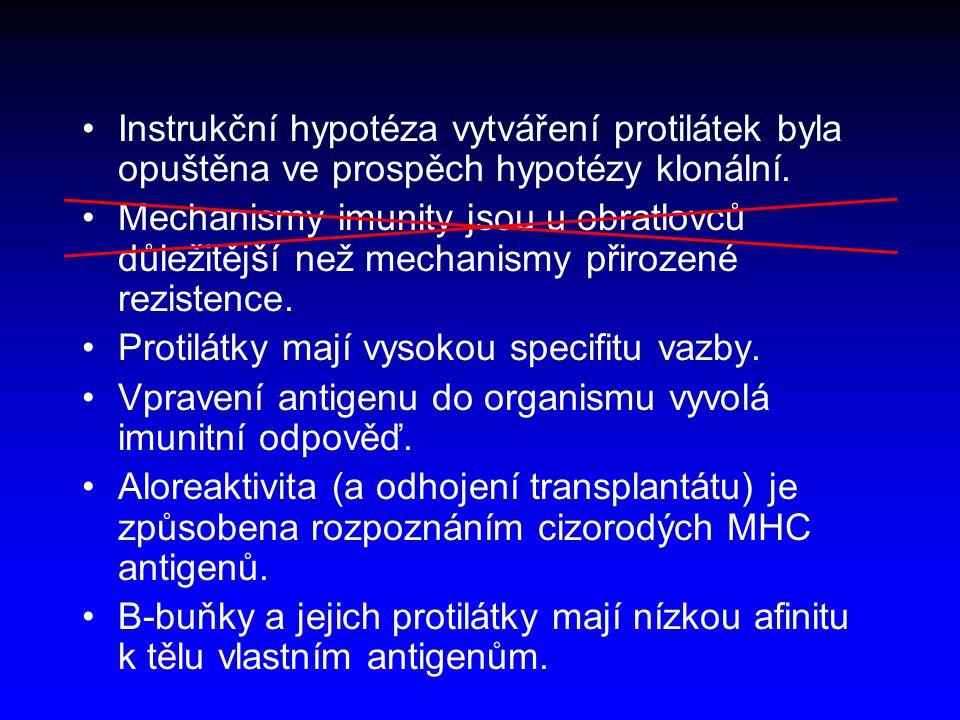 Dvě složky imunity <Senzorická složka – rozpoznání cizorodého agens <Efektorická složka – zničení cizorodého agens