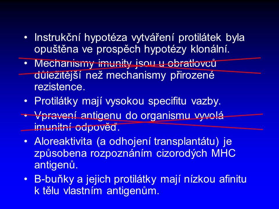 Problémy rozpoznávání <Afinita × specifita – řešení: dělba práce T a B buněk <Rychlost zrání afinity – řešení: lamarckistická evoluce <Mikroevoluce parazita – řešení: 1.