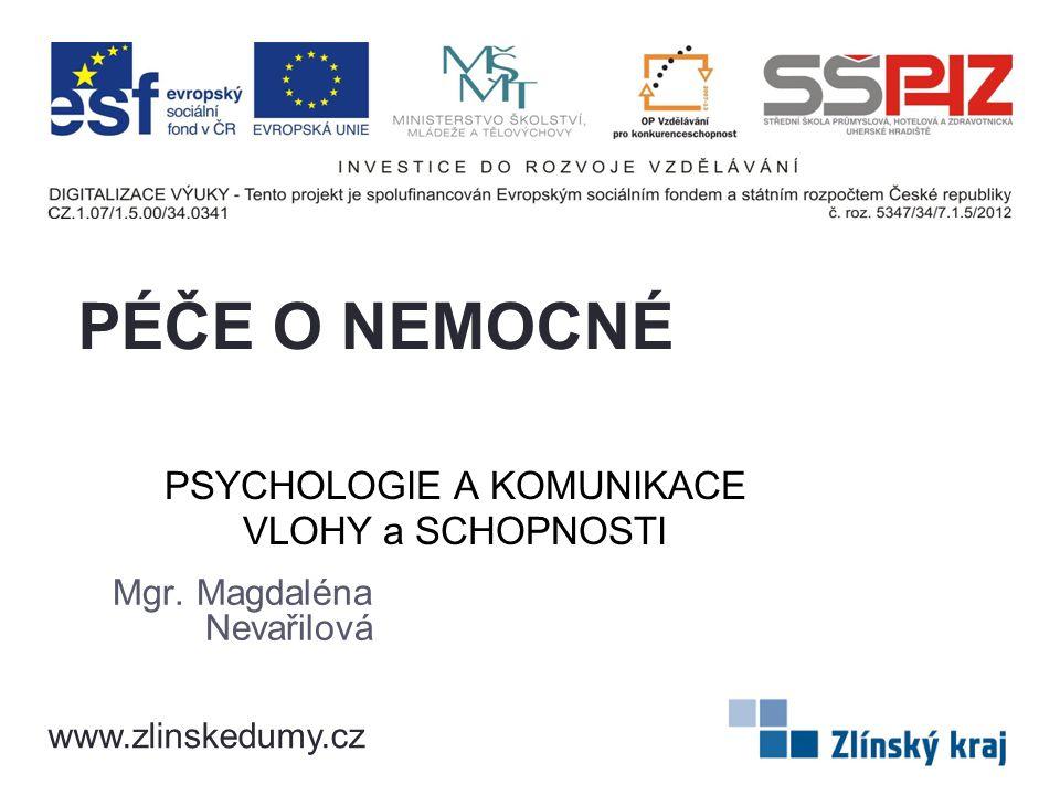 PSYCHOLOGIE A KOMUNIKACE VLOHY a SCHOPNOSTI Mgr. Magdaléna Nevařilová PÉČE O NEMOCNÉ www.zlinskedumy.cz