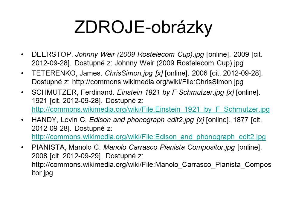 ZDROJE-obrázky DEERSTOP. Johnny Weir (2009 Rostelecom Cup).jpg [online]. 2009 [cit. 2012-09-28]. Dostupné z: Johnny Weir (2009 Rostelecom Cup).jpg TET