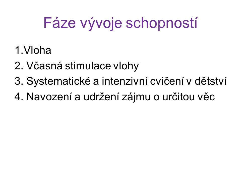 Fáze vývoje schopností 1.Vloha 2. Včasná stimulace vlohy 3. Systematické a intenzivní cvičení v dětství 4. Navození a udržení zájmu o určitou věc