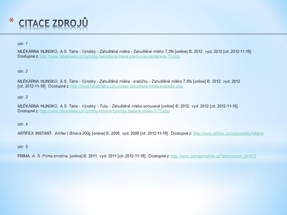 obr. 1 MLÉKÁRNA HLINSKO, A.S. Tatra - Výrobky - Zahuštěná mléka - Zahuštěné mléko 7,5% [online] ©. 2012. vyd. 2012 [cit. 2012-11-18]. Dostupné z: http