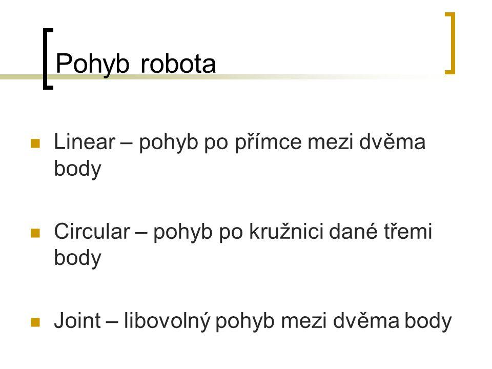 Pohyb robota Linear – pohyb po přímce mezi dvěma body Circular – pohyb po kružnici dané třemi body Joint – libovolný pohyb mezi dvěma body