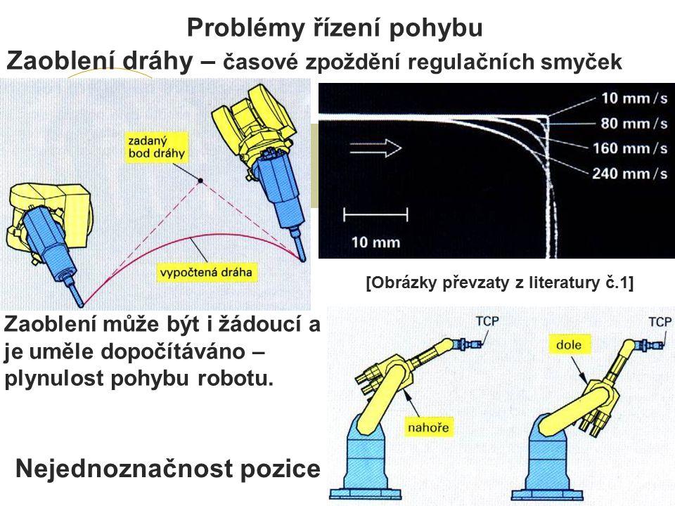 Problémy řízení pohybu Zaoblení dráhy – časové zpoždění regulačních smyček Zaoblení může být i žádoucí a je uměle dopočítáváno – plynulost pohybu robotu.