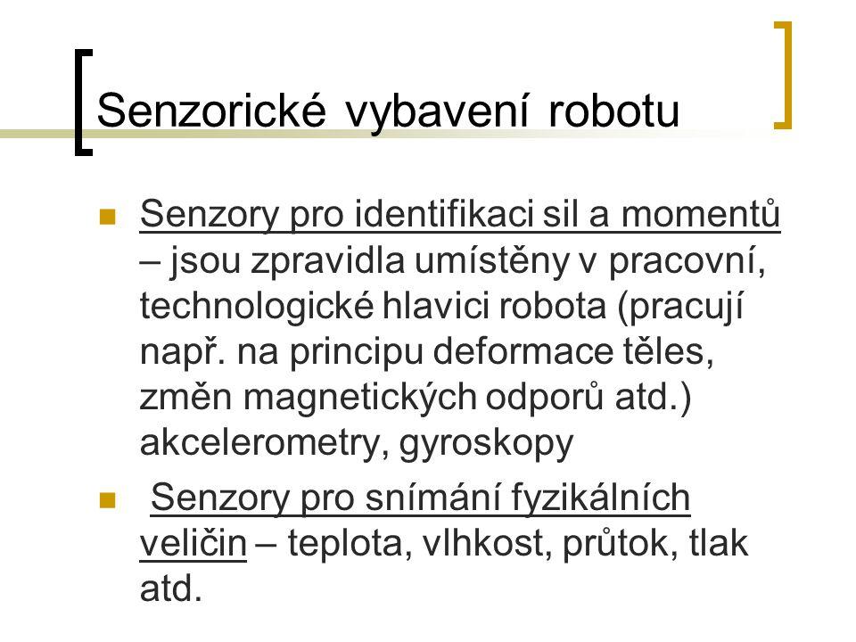 Senzorické vybavení robotu Senzory pro identifikaci sil a momentů – jsou zpravidla umístěny v pracovní, technologické hlavici robota (pracují např.