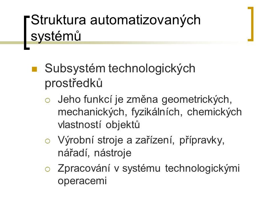 Struktura automatizovaných systémů Subsystém technologických prostředků  Jeho funkcí je změna geometrických, mechanických, fyzikálních, chemických vlastností objektů  Výrobní stroje a zařízení, přípravky, nářadí, nástroje  Zpracování v systému technologickými operacemi