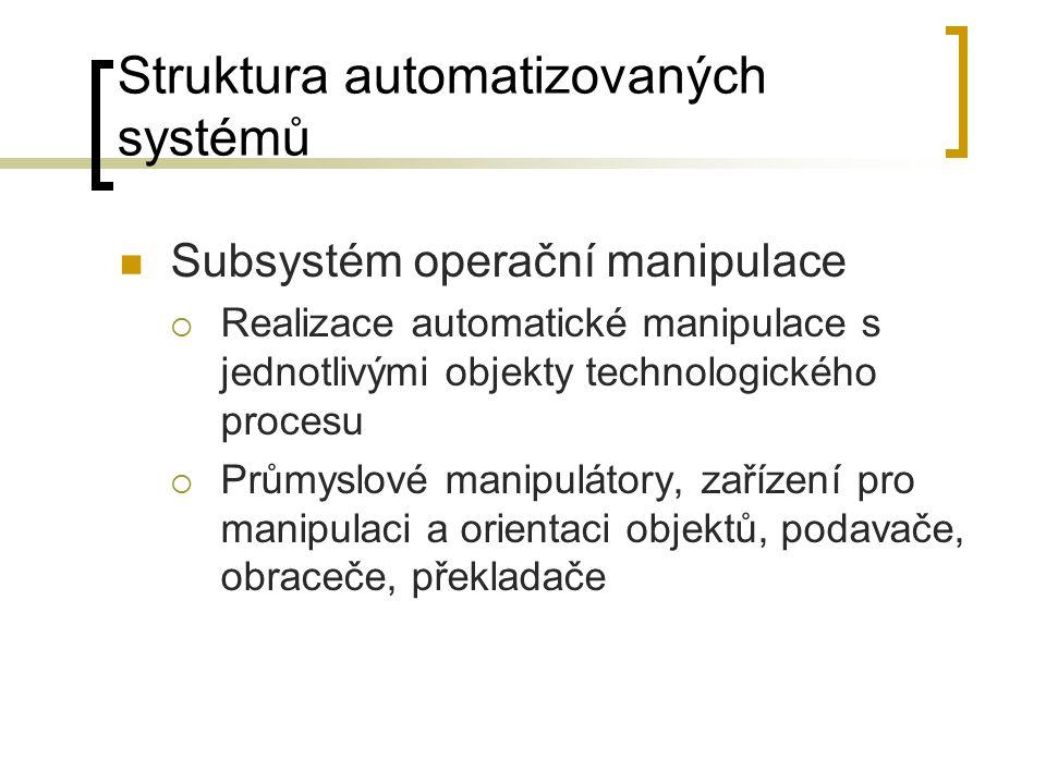 Struktura automatizovaných systémů Subsystém operační manipulace  Realizace automatické manipulace s jednotlivými objekty technologického procesu  Průmyslové manipulátory, zařízení pro manipulaci a orientaci objektů, podavače, obraceče, překladače
