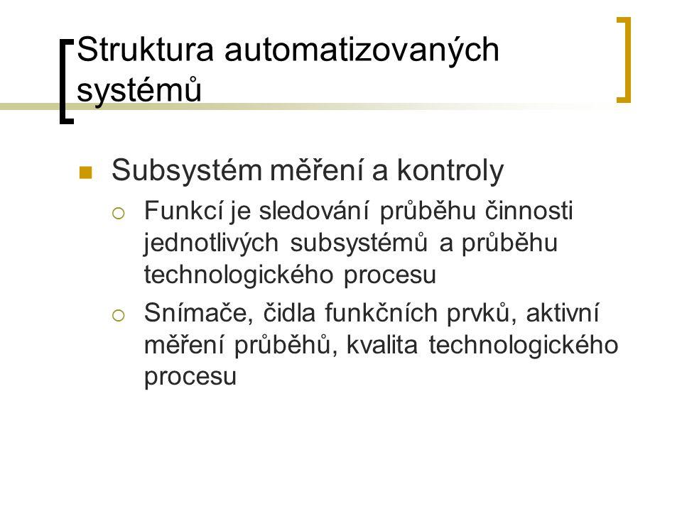 Struktura automatizovaných systémů Subsystém měření a kontroly  Funkcí je sledování průběhu činnosti jednotlivých subsystémů a průběhu technologického procesu  Snímače, čidla funkčních prvků, aktivní měření průběhů, kvalita technologického procesu
