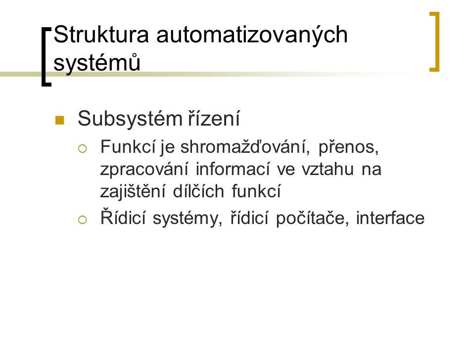 Struktura automatizovaných systémů Subsystém řízení  Funkcí je shromažďování, přenos, zpracování informací ve vztahu na zajištění dílčích funkcí  Ří