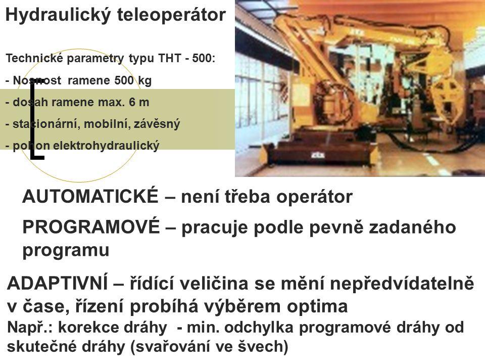 AUTOMATICKÉ – není třeba operátor Hydraulický teleoperátor Technické parametry typu THT - 500: - Nosnost ramene 500 kg - dosah ramene max.