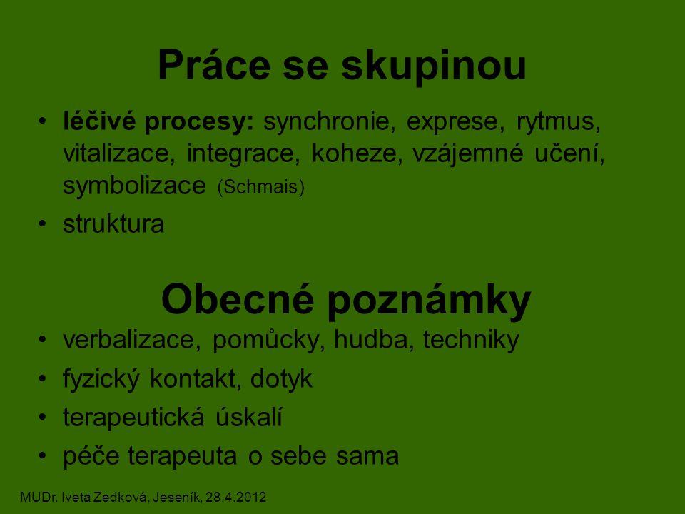 Práce se skupinou léčivé procesy: synchronie, exprese, rytmus, vitalizace, integrace, koheze, vzájemné učení, symbolizace (Schmais) struktura verbali