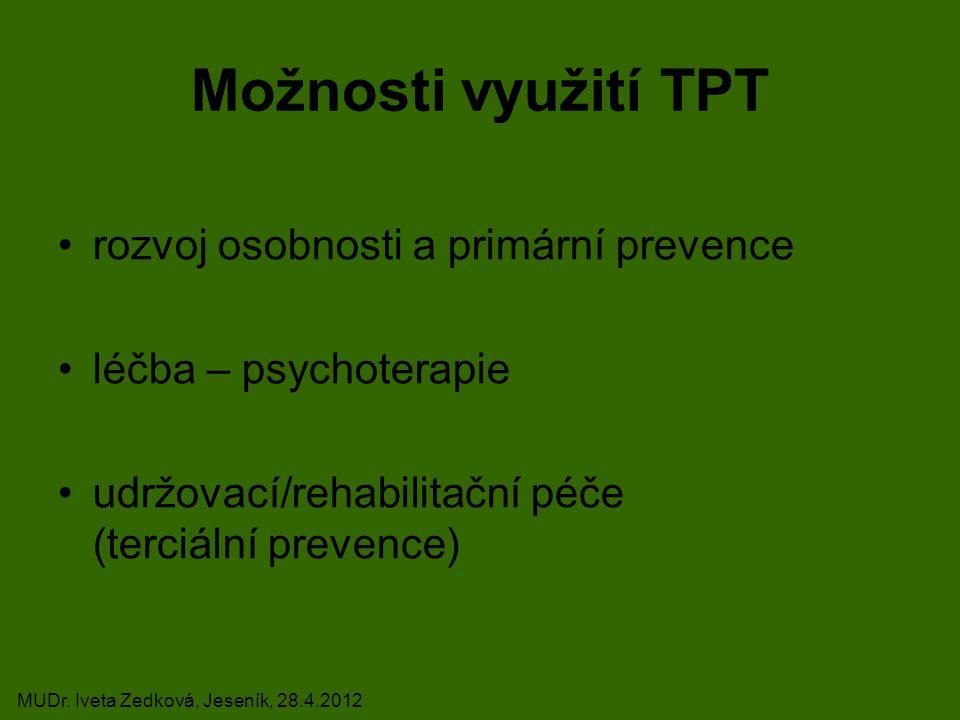 Možnosti využití TPT rozvoj osobnosti a primární prevence léčba – psychoterapie udržovací/rehabilitační péče (terciální prevence) MUDr.