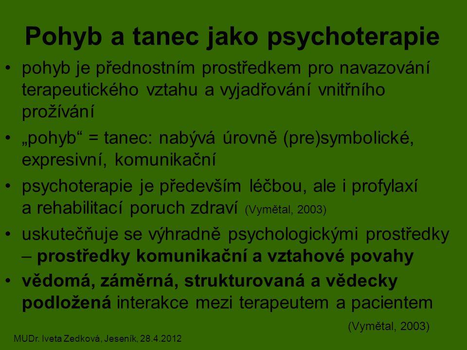 """Pohyb a tanec jako psychoterapie pohyb je přednostním prostředkem pro navazování terapeutického vztahu a vyjadřování vnitřního prožívání """"pohyb = tanec: nabývá úrovně (pre)symbolické, expresivní, komunikační psychoterapie je především léčbou, ale i profylaxí a rehabilitací poruch zdraví (Vymětal, 2003) uskutečňuje se výhradně psychologickými prostředky – prostředky komunikační a vztahové povahy vědomá, záměrná, strukturovaná a vědecky podložená interakce mezi terapeutem a pacientem (Vymětal, 2003) MUDr."""
