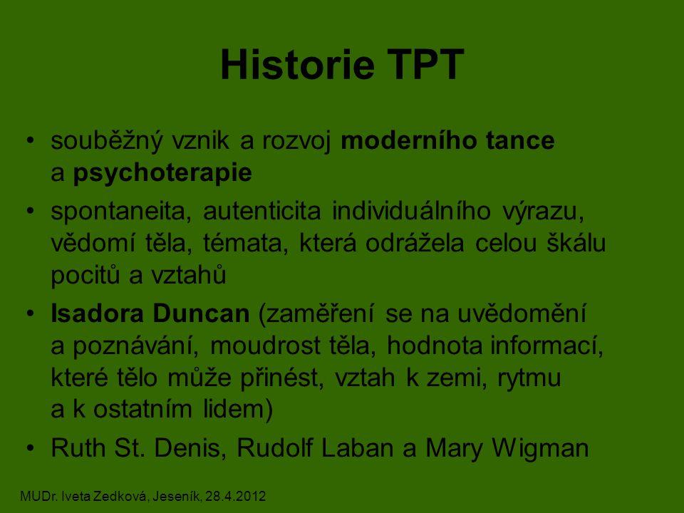 Historie TPT souběžný vznik a rozvoj moderního tance a psychoterapie spontaneita, autenticita individuálního výrazu, vědomí těla, témata, která odrážela celou škálu pocitů a vztahů Isadora Duncan (zaměření se na uvědomění a poznávání, moudrost těla, hodnota informací, které tělo může přinést, vztah k zemi, rytmu a k ostatním lidem) Ruth St.