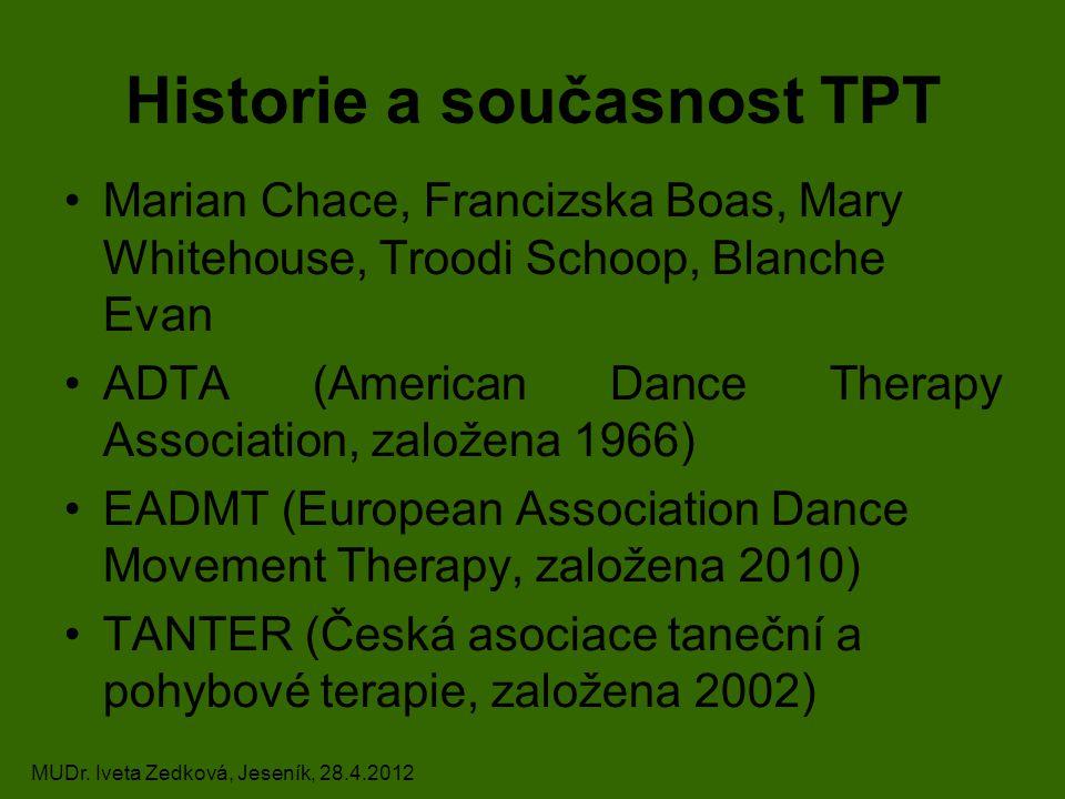 Historie a současnost TPT Marian Chace, Francizska Boas, Mary Whitehouse, Troodi Schoop, Blanche Evan ADTA (American Dance Therapy Association, založe
