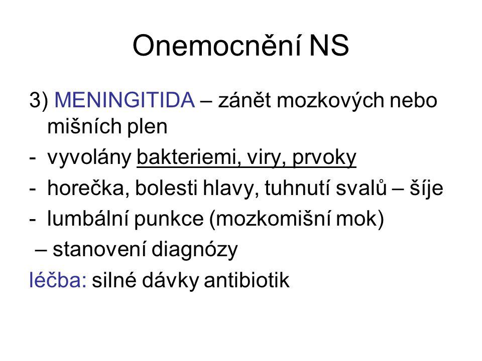 Onemocnění NS 3) MENINGITIDA – zánět mozkových nebo mišních plen -vyvolány bakteriemi, viry, prvoky -horečka, bolesti hlavy, tuhnutí svalů – šíje -lum