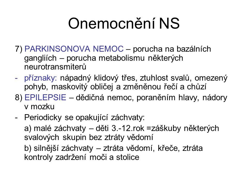 Onemocnění NS 7) PARKINSONOVA NEMOC – porucha na bazálních gangliích – porucha metabolismu některých neurotransmiterů -příznaky: nápadný klidový třes,