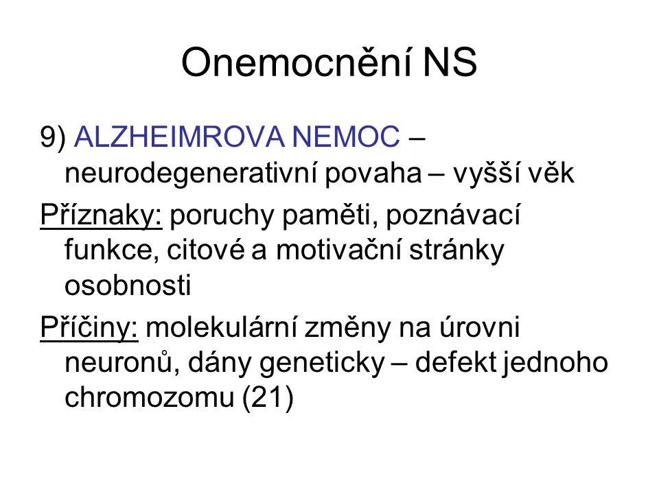 Onemocnění NS 9) ALZHEIMROVA NEMOC – neurodegenerativní povaha – vyšší věk Příznaky: poruchy paměti, poznávací funkce, citové a motivační stránky osob