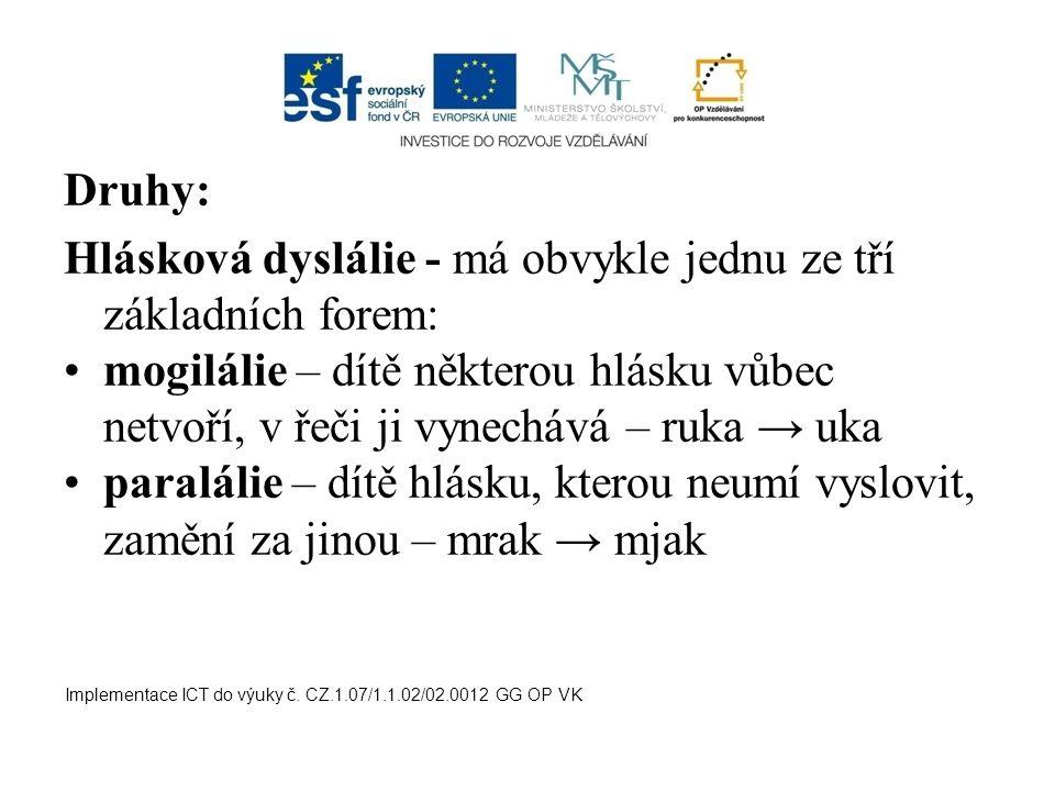 Druhy: Hlásková dyslálie - má obvykle jednu ze tří základních forem: mogilálie – dítě některou hlásku vůbec netvoří, v řeči ji vynechává – ruka → uka
