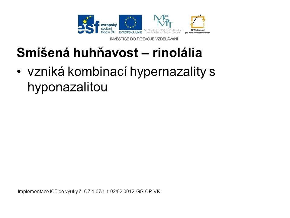 Smíšená huhňavost – rinolália vzniká kombinací hypernazality s hyponazalitou Implementace ICT do výuky č. CZ.1.07/1.1.02/02.0012 GG OP VK