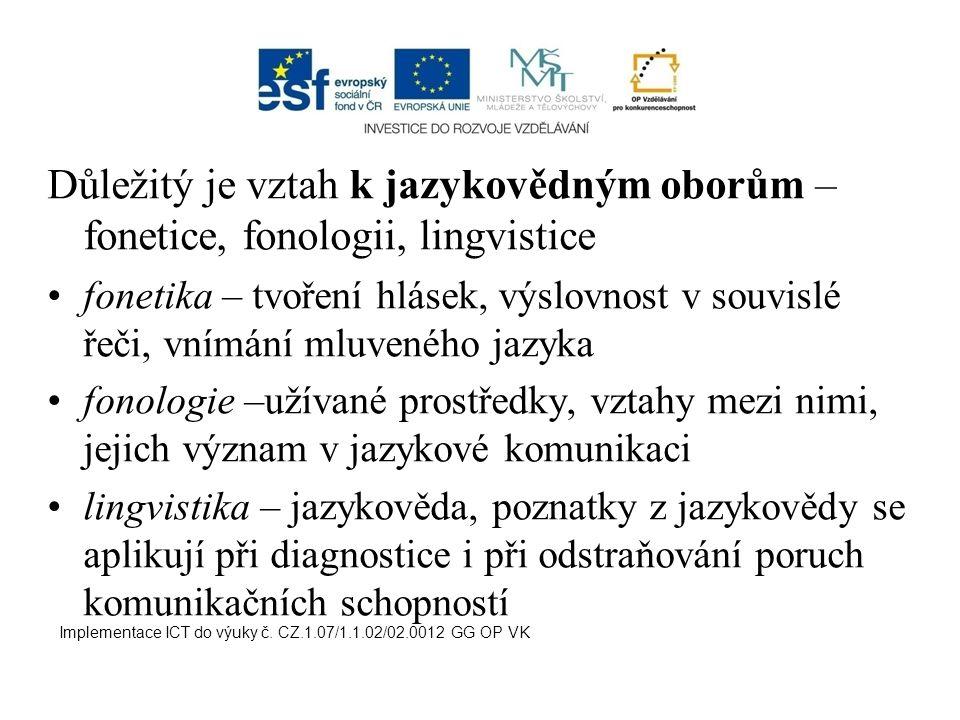 logoped ve školských i zdravotnických zařízeních logoped v ústavech sociálních péče Implementace ICT do výuky č.