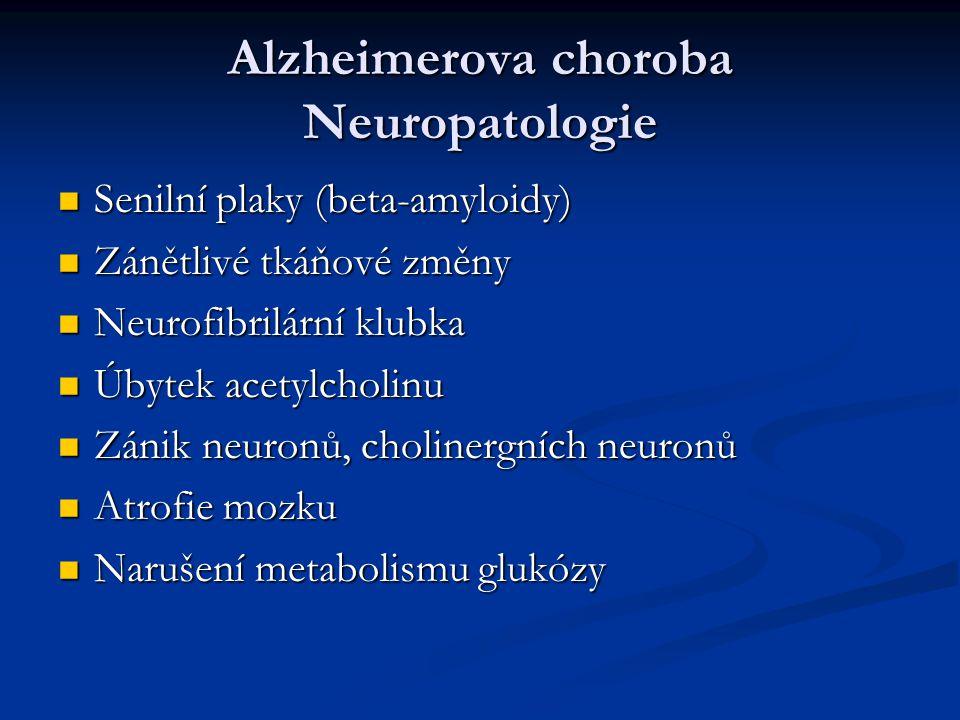 Alzheimerova choroba Neuropatologie Senilní plaky (beta-amyloidy) Senilní plaky (beta-amyloidy) Zánětlivé tkáňové změny Zánětlivé tkáňové změny Neurofibrilární klubka Neurofibrilární klubka Úbytek acetylcholinu Úbytek acetylcholinu Zánik neuronů, cholinergních neuronů Zánik neuronů, cholinergních neuronů Atrofie mozku Atrofie mozku Narušení metabolismu glukózy Narušení metabolismu glukózy