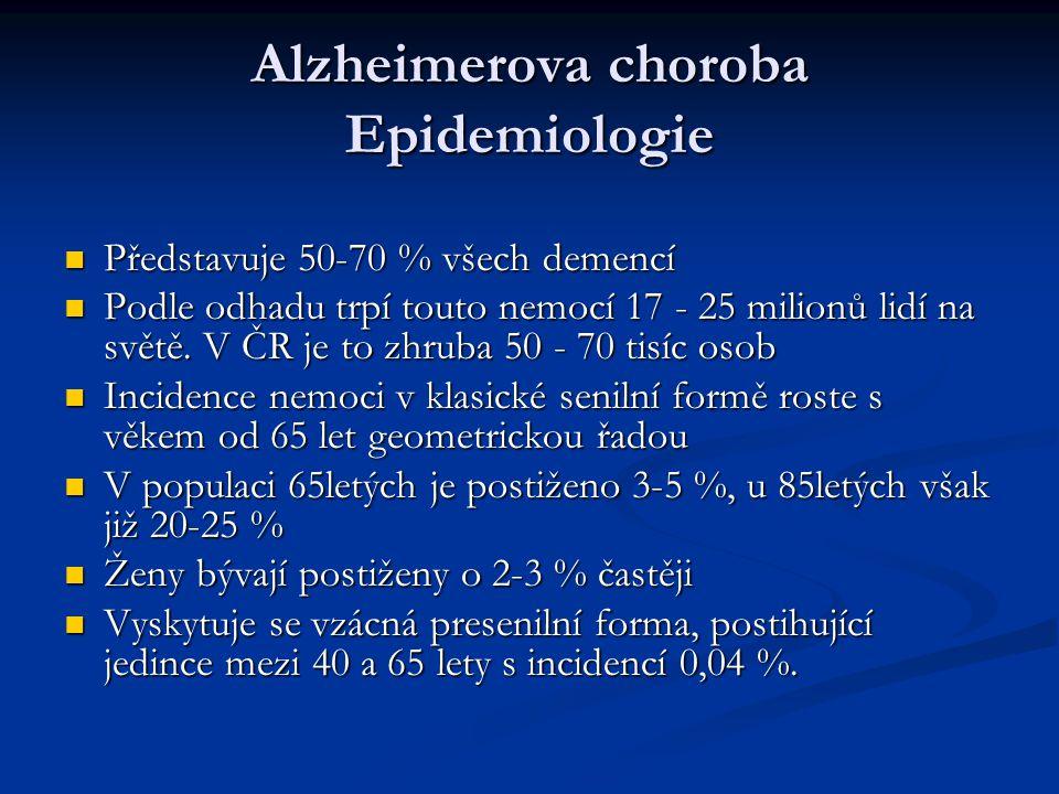 Alzheimerova choroba Epidemiologie Představuje 50-70 % všech demencí Představuje 50-70 % všech demencí Podle odhadu trpí touto nemocí 17 - 25 milionů lidí na světě.