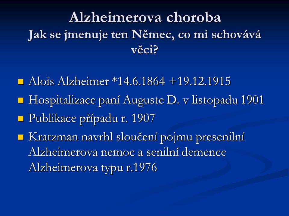 Alzheimerova choroba Jak se jmenuje ten Němec, co mi schovává věci.
