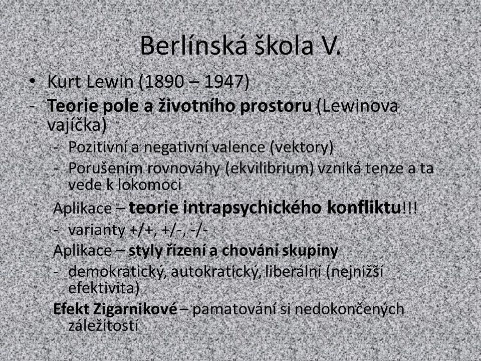 Berlínská škola V. Kurt Lewin (1890 – 1947) -Teorie pole a životního prostoru (Lewinova vajíčka) -Pozitivní a negativní valence (vektory) -Porušením r