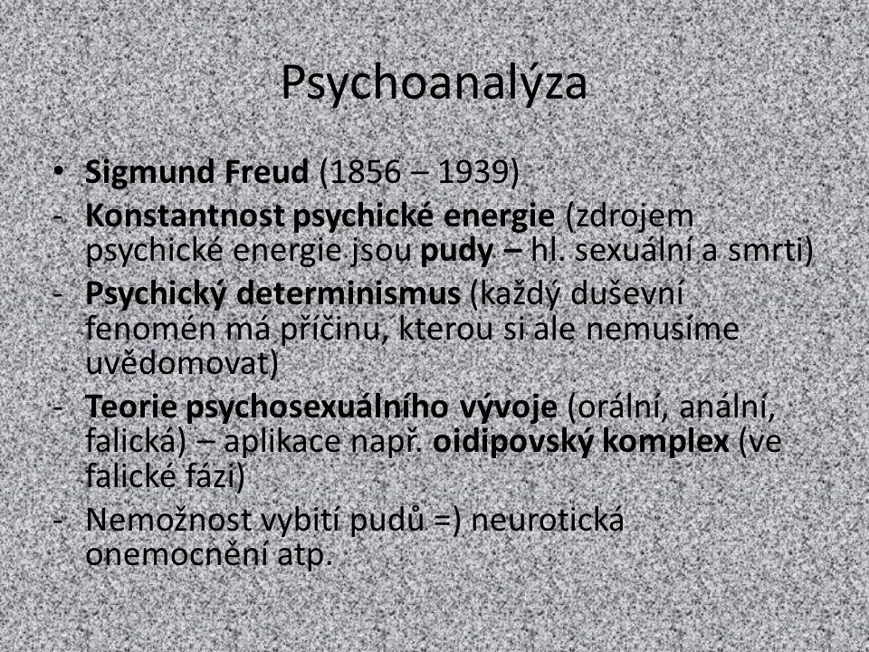 Psychoanalýza Sigmund Freud (1856 – 1939) -Konstantnost psychické energie (zdrojem psychické energie jsou pudy – hl. sexuální a smrti) -Psychický dete