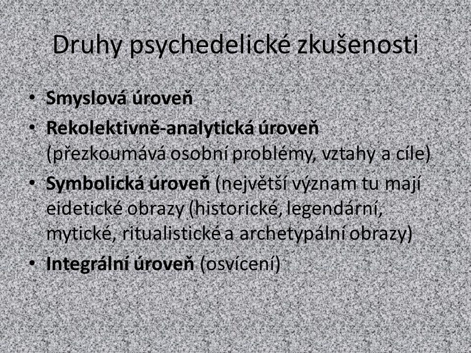Druhy psychedelické zkušenosti Smyslová úroveň Rekolektivně-analytická úroveň (přezkoumává osobní problémy, vztahy a cíle) Symbolická úroveň (největší