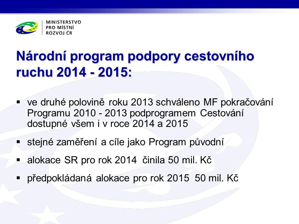  ve druhé polovině roku 2013 schváleno MF pokračování Programu 2010 - 2013 podprogramem Cestování dostupné všem i v roce 2014 a 2015  stejné zaměření a cíle jako Program původní  alokace SR pro rok 2014 činila 50 mil.