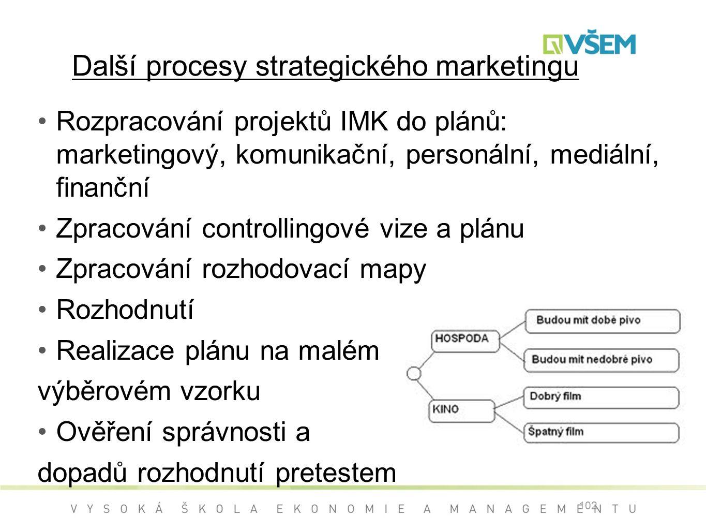 Rozpracování projektů IMK do plánů: marketingový, komunikační, personální, mediální, finanční Zpracování controllingové vize a plánu Zpracování rozhodovací mapy Rozhodnutí Realizace plánu na malém výběrovém vzorku Ověření správnosti a dopadů rozhodnutí pretestem 102 Další procesy strategického marketingu