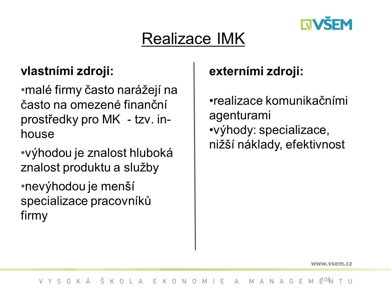 Realizace IMK vlastními zdroji: malé firmy často narážejí na často na omezené finanční prostředky pro MK - tzv.