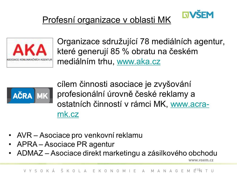 Profesní organizace v oblasti MK Organizace sdružující 78 mediálních agentur, které generují 85 % obratu na českém mediálním trhu, www.aka.czwww.aka.cz cílem činnosti asociace je zvyšování profesionální úrovně české reklamy a ostatních činností v rámci MK, www.acra- mk.czwww.acra- mk.cz 119 AVR – Asociace pro venkovní reklamu APRA – Asociace PR agentur ADMAZ – Asociace direkt marketingu a zásilkového obchodu