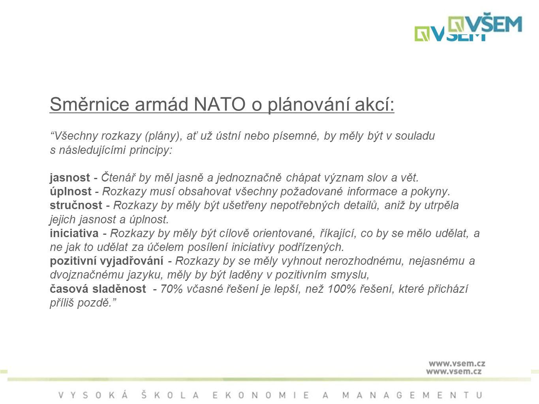 Směrnice armád NATO o plánování akcí: Všechny rozkazy (plány), ať už ústní nebo písemné, by měly být v souladu s následujícími principy: jasnost - Čtenář by měl jasně a jednoznačně chápat význam slov a vět.
