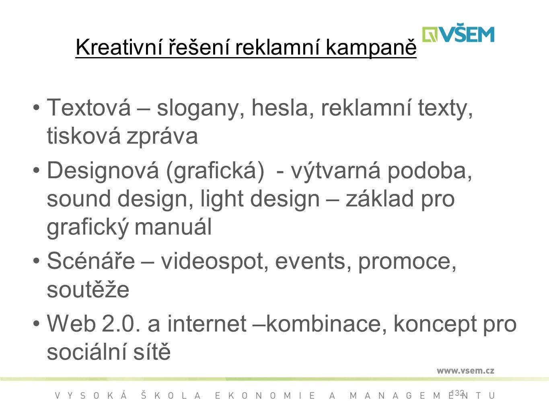 Kreativní řešení reklamní kampaně Textová – slogany, hesla, reklamní texty, tisková zpráva Designová (grafická) - výtvarná podoba, sound design, light design – základ pro grafický manuál Scénáře – videospot, events, promoce, soutěže Web 2.0.
