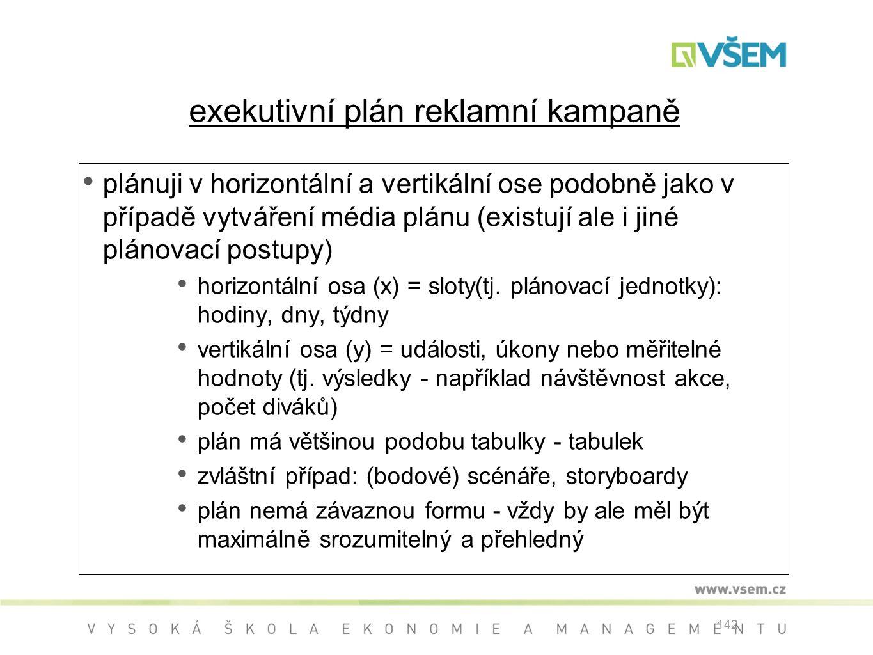 142 exekutivní plán reklamní kampaně plánuji v horizontální a vertikální ose podobně jako v případě vytváření média plánu (existují ale i jiné plánovací postupy) horizontální osa (x) = sloty(tj.