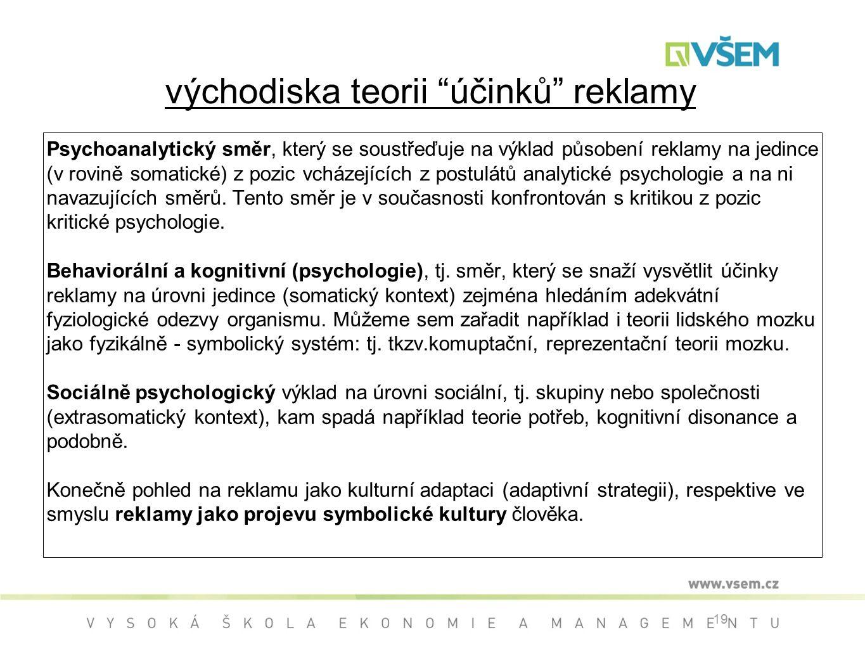 19 východiska teorii účinků reklamy Psychoanalytický směr, který se soustřeďuje na výklad působení reklamy na jedince (v rovině somatické) z pozic vcházejících z postulátů analytické psychologie a na ni navazujících směrů.