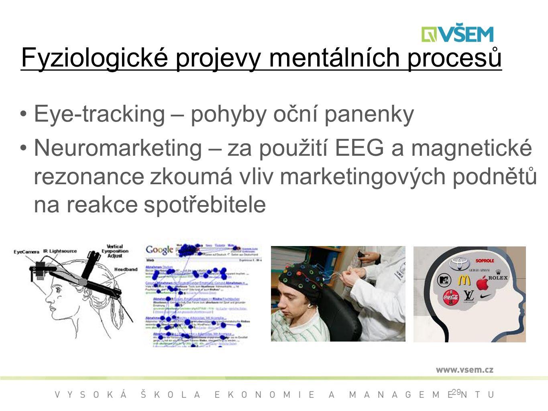 Fyziologické projevy mentálních procesů Eye-tracking – pohyby oční panenky Neuromarketing – za použití EEG a magnetické rezonance zkoumá vliv marketingových podnětů na reakce spotřebitele 29