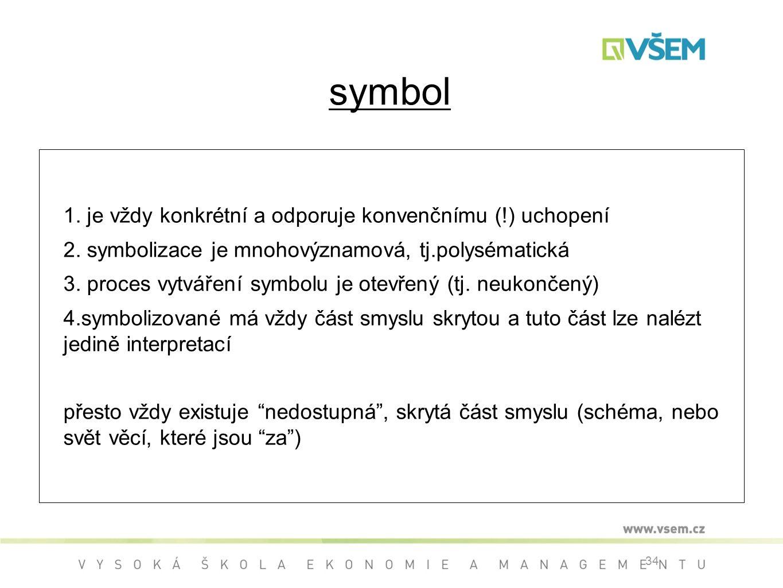 34 symbol 1.je vždy konkrétní a odporuje konvenčnímu (!) uchopení 2.