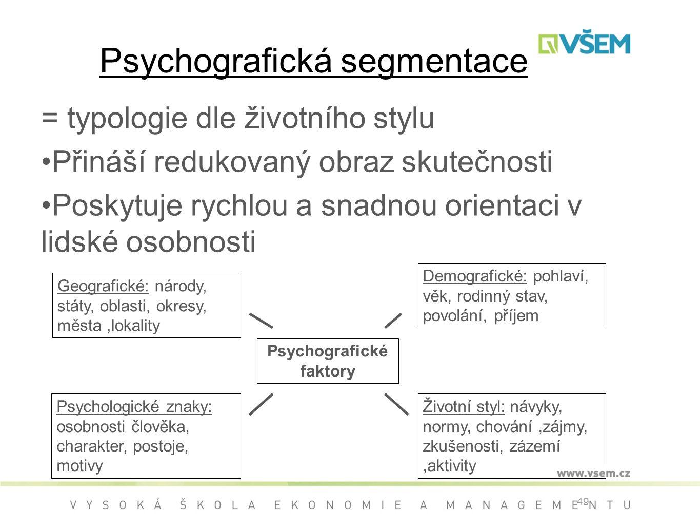 Psychografická segmentace = typologie dle životního stylu Přináší redukovaný obraz skutečnosti Poskytuje rychlou a snadnou orientaci v lidské osobnosti 49 Geografické: národy, státy, oblasti, okresy, města,lokality Demografické: pohlaví, věk, rodinný stav, povolání, příjem Psychologické znaky: osobnosti člověka, charakter, postoje, motivy Životní styl: návyky, normy, chování,zájmy, zkušenosti, zázemí,aktivity Psychografické faktory